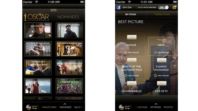 PHOTO: The Official Oscar app is available for the iOS and Android.