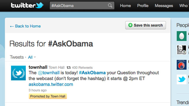 PHOTO:A Presidential Town Hall will be held Twitter, July 6, 2011.