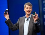 PHOTO: CEO of BlackBerry Thorsten Heins presents the BlackBerry Z10 and Q10 phones.