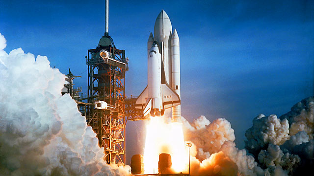 PHOTO: Space shuttle Columbia lifts off from Kennedy Space Centers ocean side launch pad, April 12, 1981 in Florida.