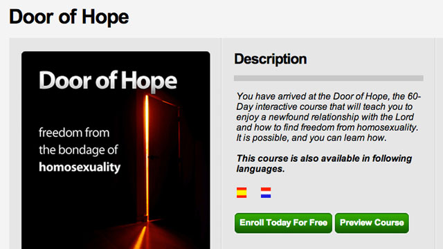 """PHOTO: The Setting Captives Free app was banned from the Apple App Store because of its """"Door of Hope"""" anti-gay section."""