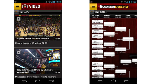 PHOTO: ESPN Bracket Bound 2013 Android App.