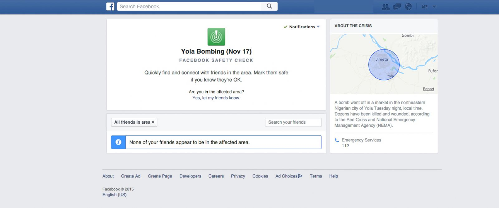 PHOTO:Mark Zuckerberg took to his Facebook wall to announce that they have activated the safety check on their site following the bomb blast in Yola, Nigeria.