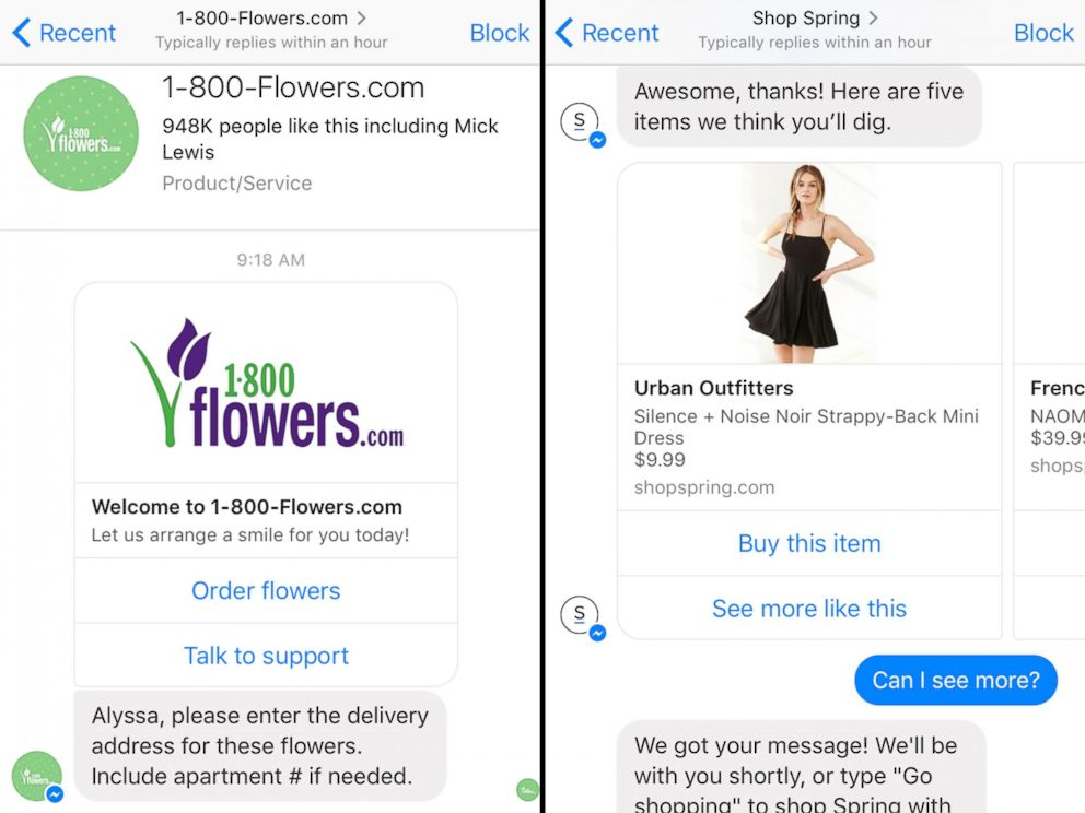 PHOTO: Images made from the Facebook Messenger app on April 14, 2016 show conversations with 1-800-Flowers.com and Shop Spring chat bots.