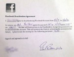 PHOTO: The agreement created by Paul Baier, which states that his daughter will will stay off Facebook for five months in exchange for $200.