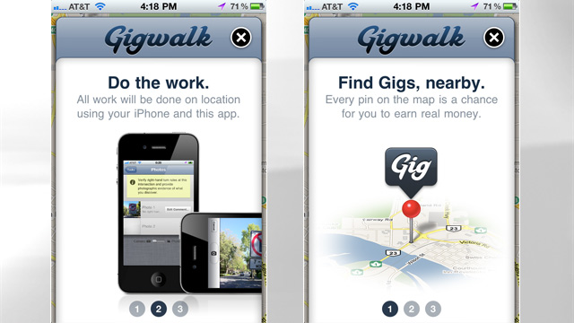 PHOTO: Screen shots from GigWalk