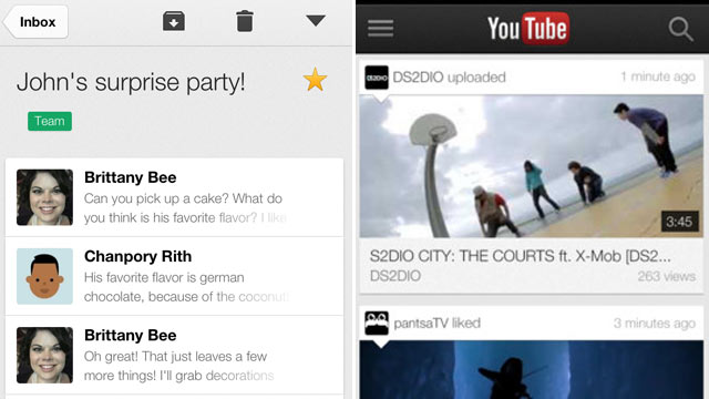 PHOTO: Google released new versions of Gmail and YouTube for the iPad and iPhone in Dec. 2012.