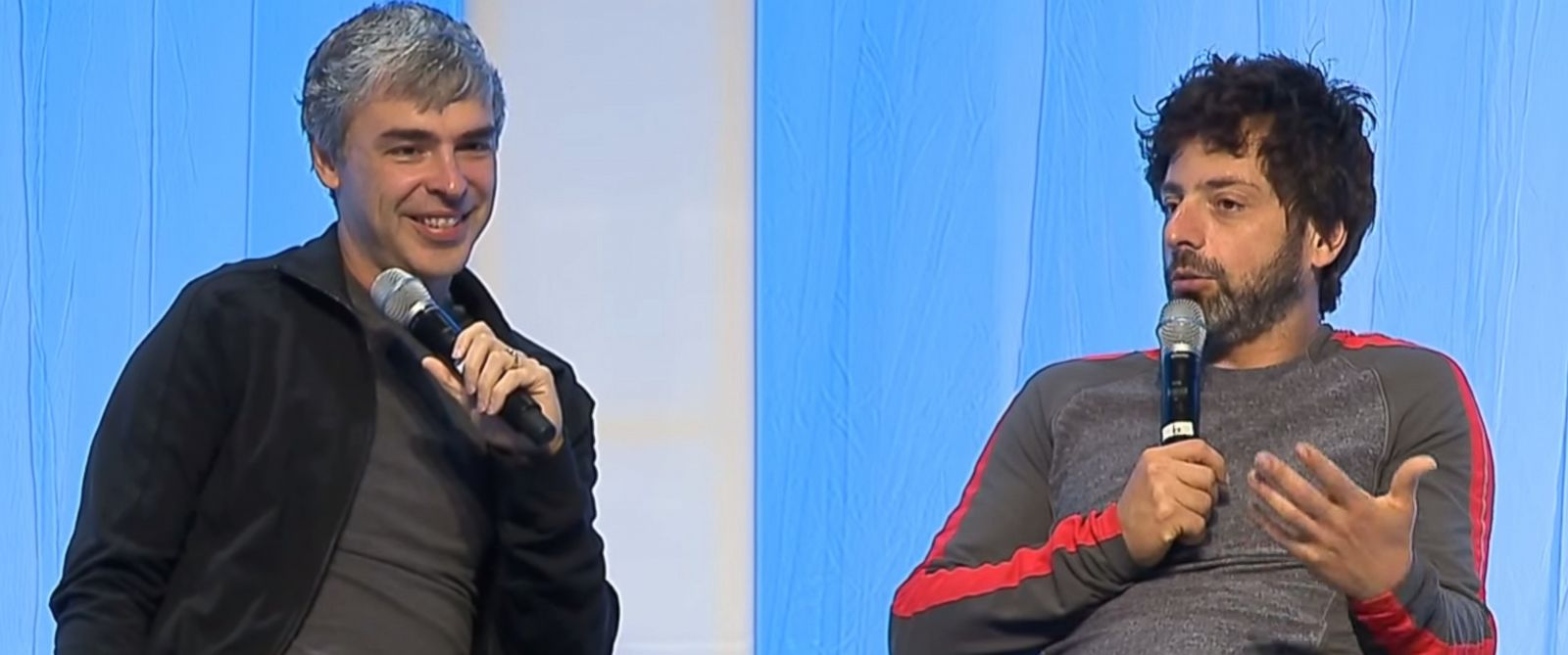 """PHOTO: Google founders Larry Page and Sergey Brin are seen in a video titled, """"Fireside chat with Google co-founders, Larry Page and Sergey Brin with Vinod Khosla"""" posted to YouTube on July 3, 2014."""