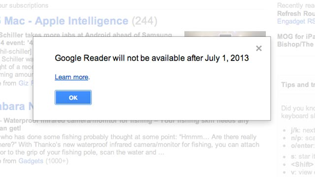 PHOTO: Google will shut down its Reader RSS service in July 2013.