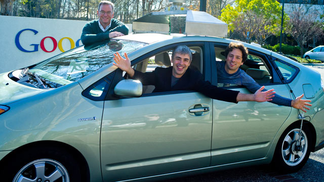 PHOTO:Google executives Eric, Larry and Sergey in a self-driving car.