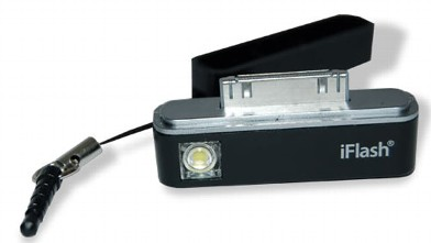 PHOTO: The iFlash, seen here, attaches to the bottom of the iPhone to provide consistent light.