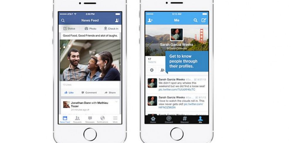 PHOTO: Facebook and Twitters new iOS 7 apps.
