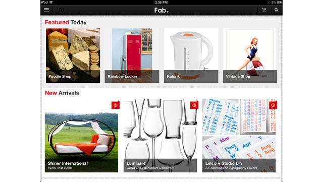 PHOTO: Fab's iPad app makes it easy to browse great product and see what your friends are buying.
