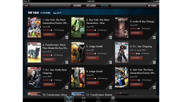 PHOTO: IDW Comics is an iPad app for buying comic books.