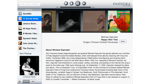PHOTO: Pandora's iPad app brings music listening to the tablet.