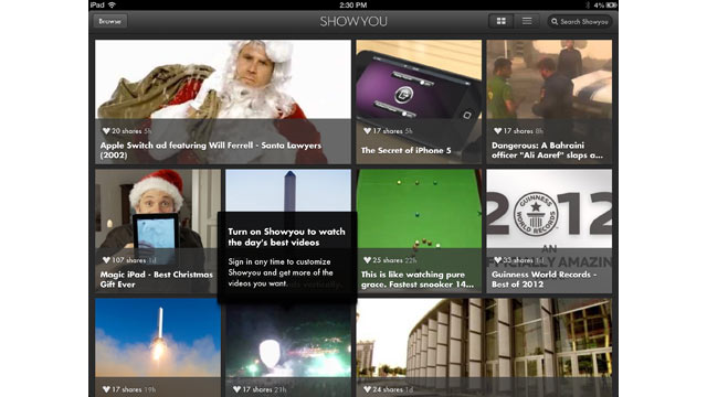 PHOTO: ShowYou collects videos being shared by your friends into one app.