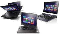 PHOTO: Lenovo's Windows 8 IdeaPad Yoga, ThinkPad Twist and Lynx convertibles have touchscreens and keyboards.
