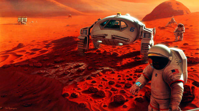 PHOTO: Two astronauts stop to inspect a robotic lander in this artists illustration of a future Mars mission.