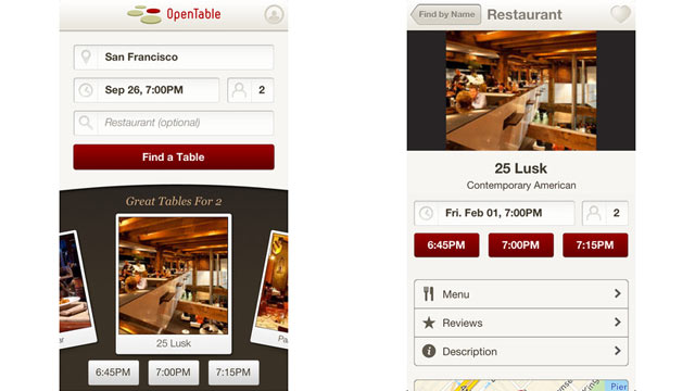 PHOTO: OpenTable's iPhone app allows you to make restaurant reservations on the go