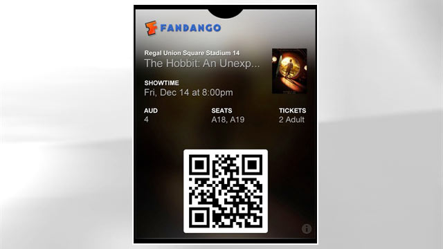PHOTO: Fandango's Passbook app displays movie tickets.
