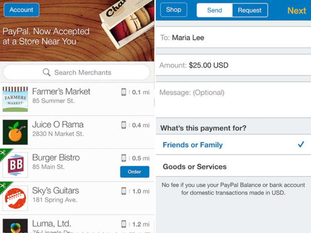 PHOTO: Paypal - Split the dinner bill, buy things, pay friends money you owe