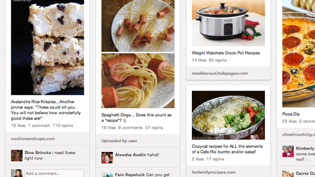 PHOTO: Links to a few delicious recipes on a Pinterest board.