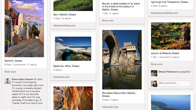 PHOTO: A few destinations in Greece pinned to a Pinterest board.