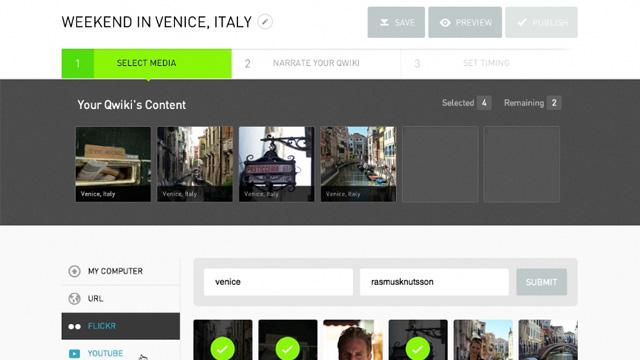 PHOTO: Qwikis web interface