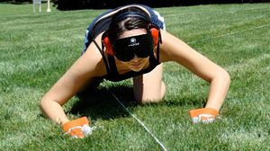 PHOTO Mari Sanchez, a graduate student at the University of California, Riverside, tracks a scented rope solely by using her nose.