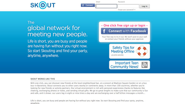 PHOTO: Skouts website, a popular mobile flirting application, is seen here.