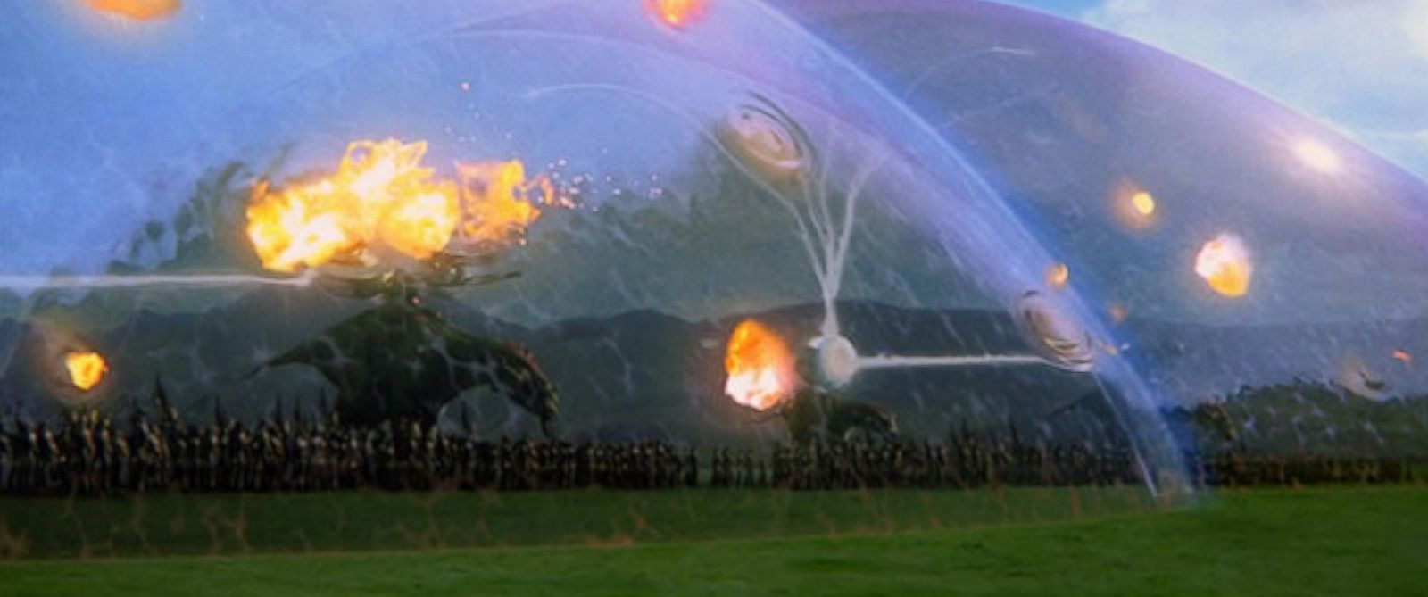 pictured is a still of the battle of naboo from star wars episode i