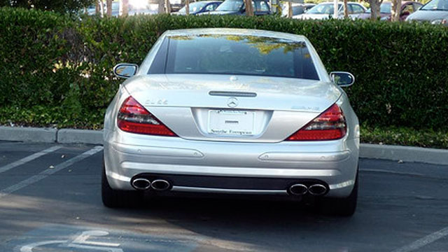 PHOTO: A Mercedes SL55 AMG with no license plates, and belonging to the late Steve Jobs, is seen parked in this undated file photo.