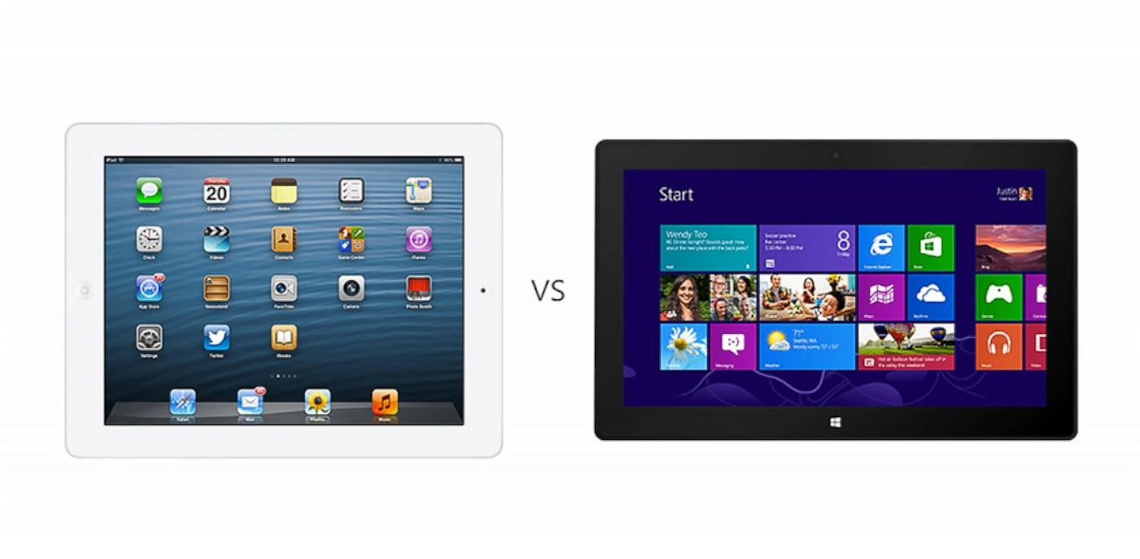 PHOTO: Microsoft lists comparisons between its Surface tablet and Apples iPad on its website.