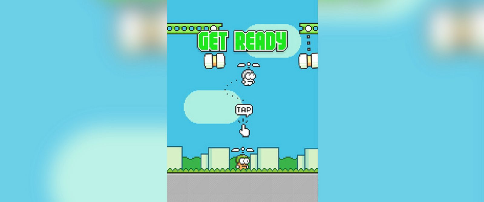 PHOTO: The new game, Swing Copters, by game creator Dong Nguyen.