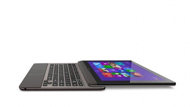 PHOTO: The Toshiba Satellite U925T has a sliding screen that pushes it from laptop to tablet.