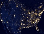 "PHOTO: This image of the U.S. at night is a composite assembled from data acquired by the Suomi NPP satellite, April and October, 2012, made possible by the satellites ""day-night band"" of the Visible Infrared Imaging Radiometer Suite (VIIRS), which detec"