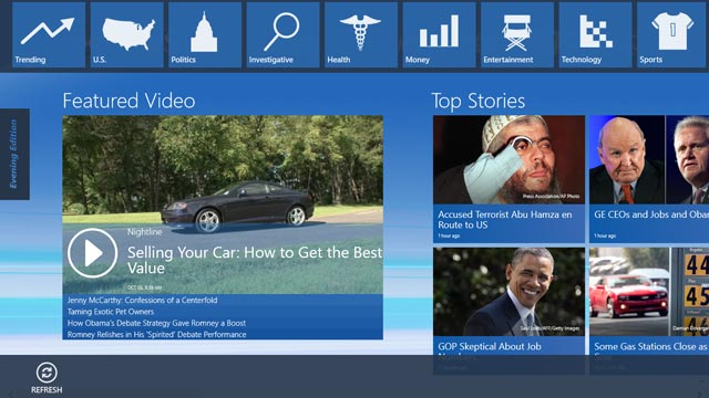 PHOTO: ABC News app for Windows 8.