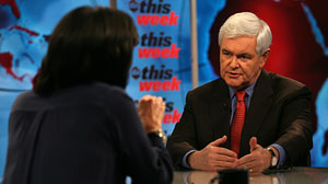 "PHOTO Former Speaker of the House Newt Gingrich appears on ""This Week with Christiane Amanpour."""