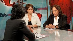 "Daisy Khan and Rabbi Joy Levitt appear on ""This Week with Christiane Amanpour."""