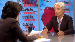 """PHOTO French Finance Minister Christine Lagarde appears on """"This Week with Christiane Amanpour."""""""