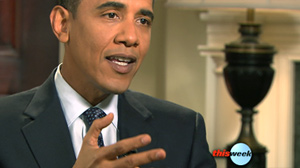 """PHOTO President Obama is shown on """"This Week"""" Host George Stephanopoulos."""
