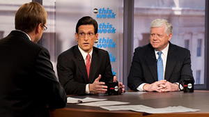 "On ""This Week,"" Sunday March 21, 2010, Rep. John Larson D-Conn., the chairman of the House Democratic Caucus and Rep. Eric Cantor, R-Va., the Republican whip give an exclusive preview of whats to expect on the vote count for the health care reform bill a"