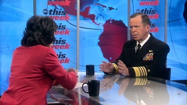 PHOTO Chairman of the Joint Chiefs of Staff Adm. Mike Mullen talks to Christiane Amanpour.