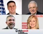 Dan Pfeiffer, David Stockman, Paul Krugman and Arianna Huffington appearing on This Week with George Stephanopoulos