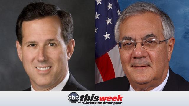 Rick Santorum and Rep Barney Frank on This Week