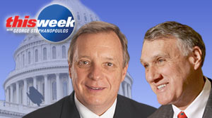 "Photo: Health care, the economy, and Judge Sotomayor, with Sens. Dick Durbin and Jon Kyl on ""This Week"""