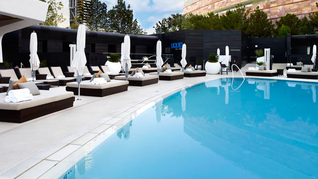 PHOTO: Seen here is the Liquid Lounge and Pool located at the Aria Hotel, Las Vegas.