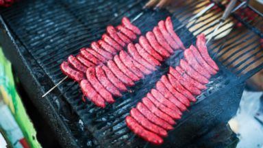 PHOTO: Hot spicy homemade lamb sausages, known as Merguez, are seen cooking on the barbecue in this undated photo.