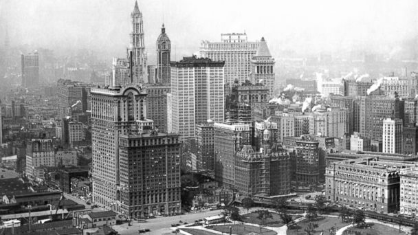 PHOTO: A view of the financial district, looking north from Battery Park in New York, circa 1915.