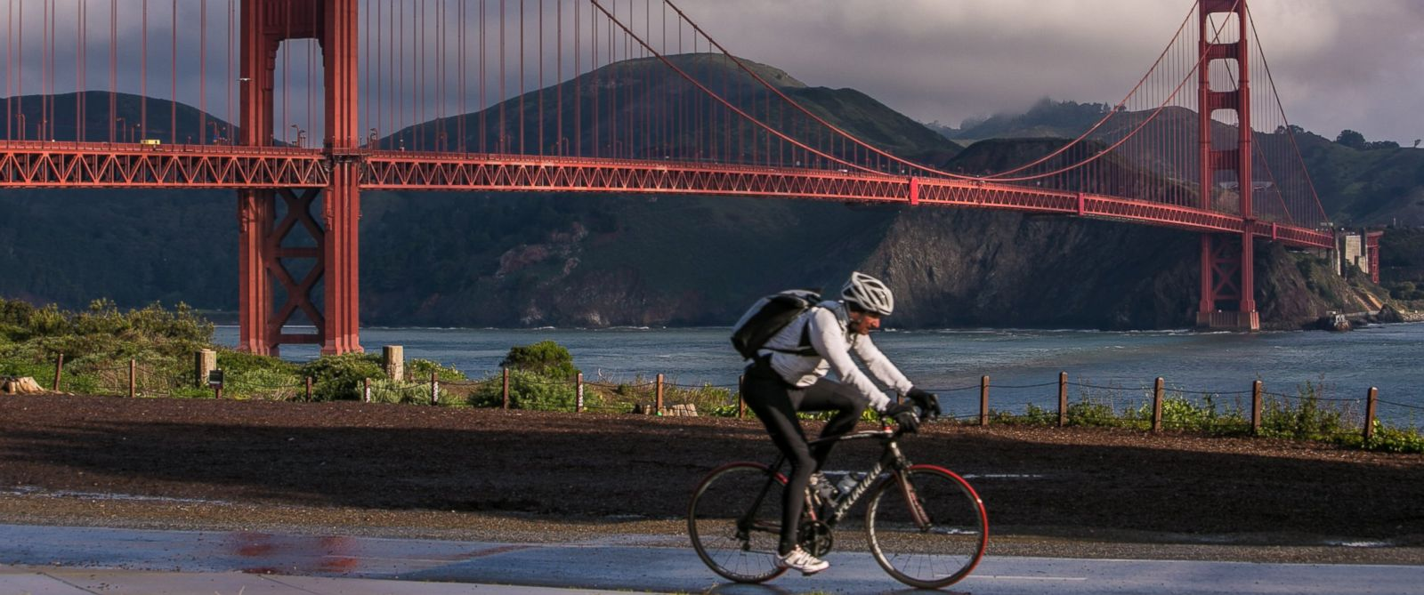 PHOTO: A bicyclist rides along the many bike paths and trails at Golden Gate National Park